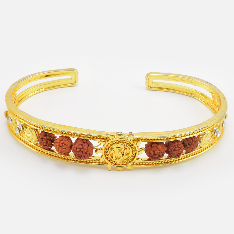 Beautiful Divine Om and Rudraksha Golden Color Amazing Design Bracelet for Brother