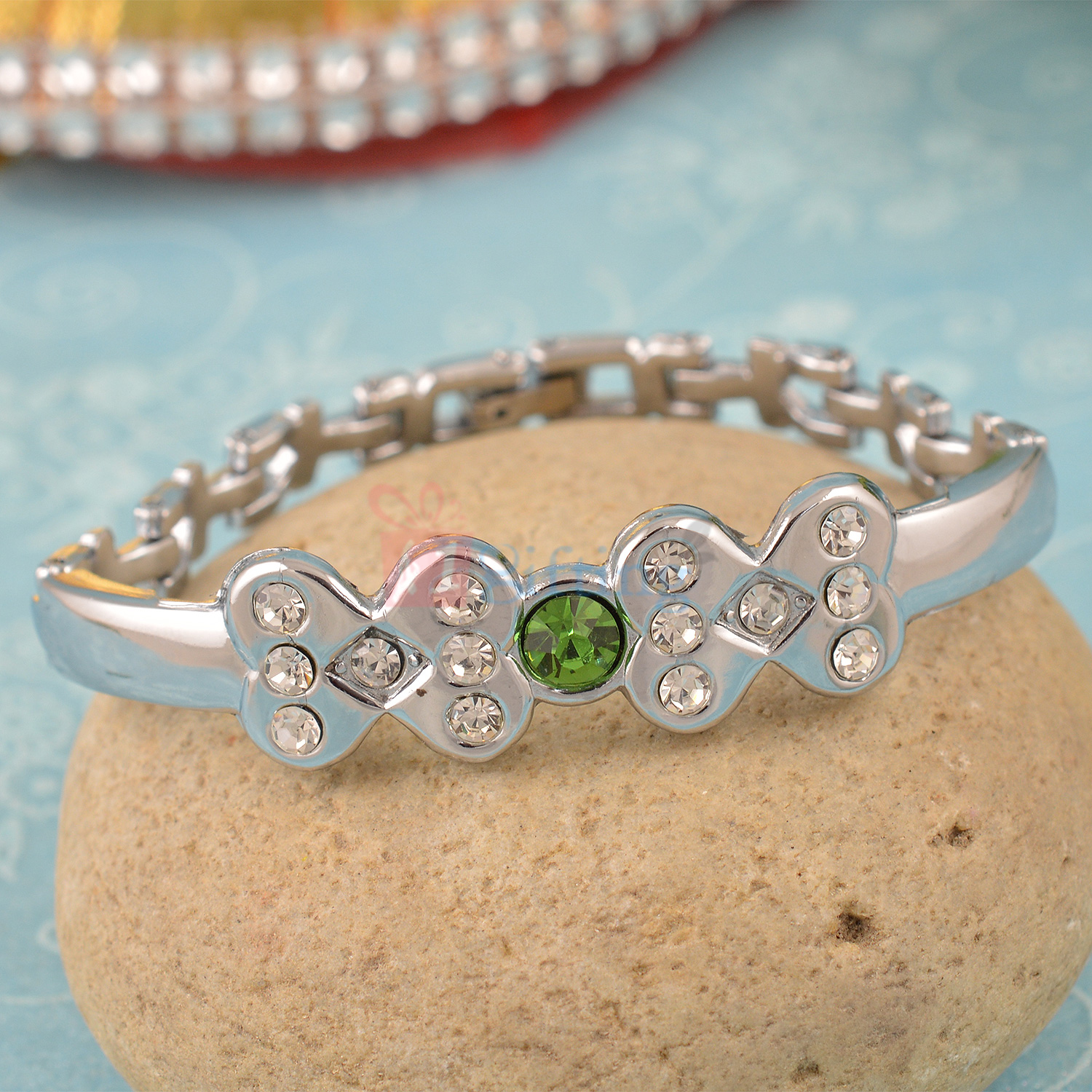 Awesome Designer Silver Plated Bracelet with Diamonds