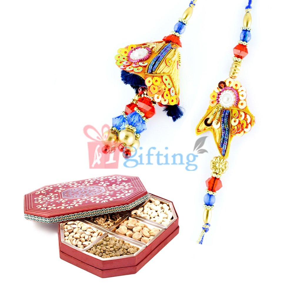 Multi-Color Zardosi Pair Rakhi with Dried fruits Pack of Gift