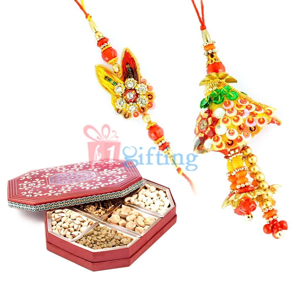 Colorful Handicraft Rakhi Pair with Dry fruits Gift Pack