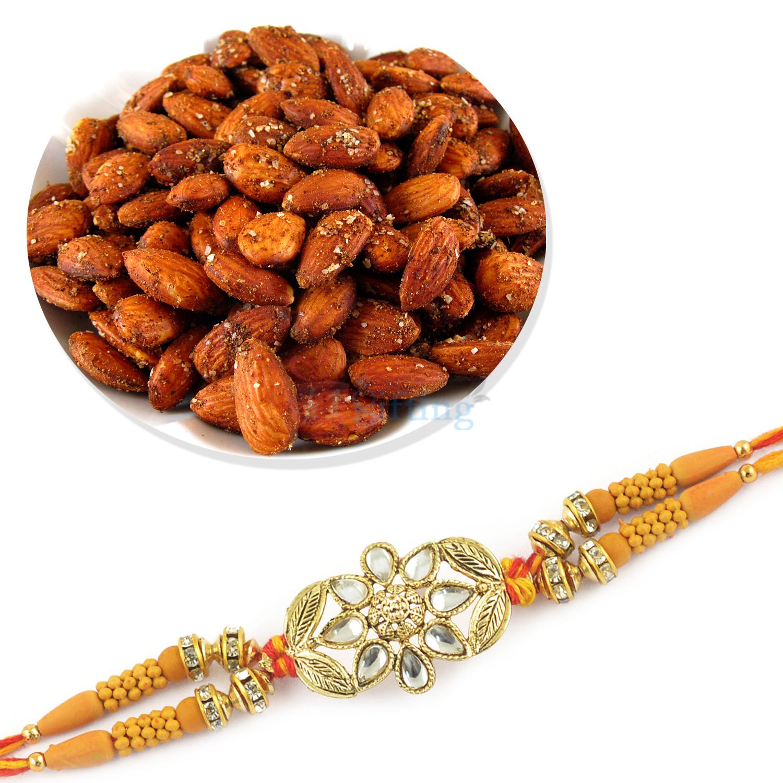 Beautiful Rakhi and Fried Badam Hamper