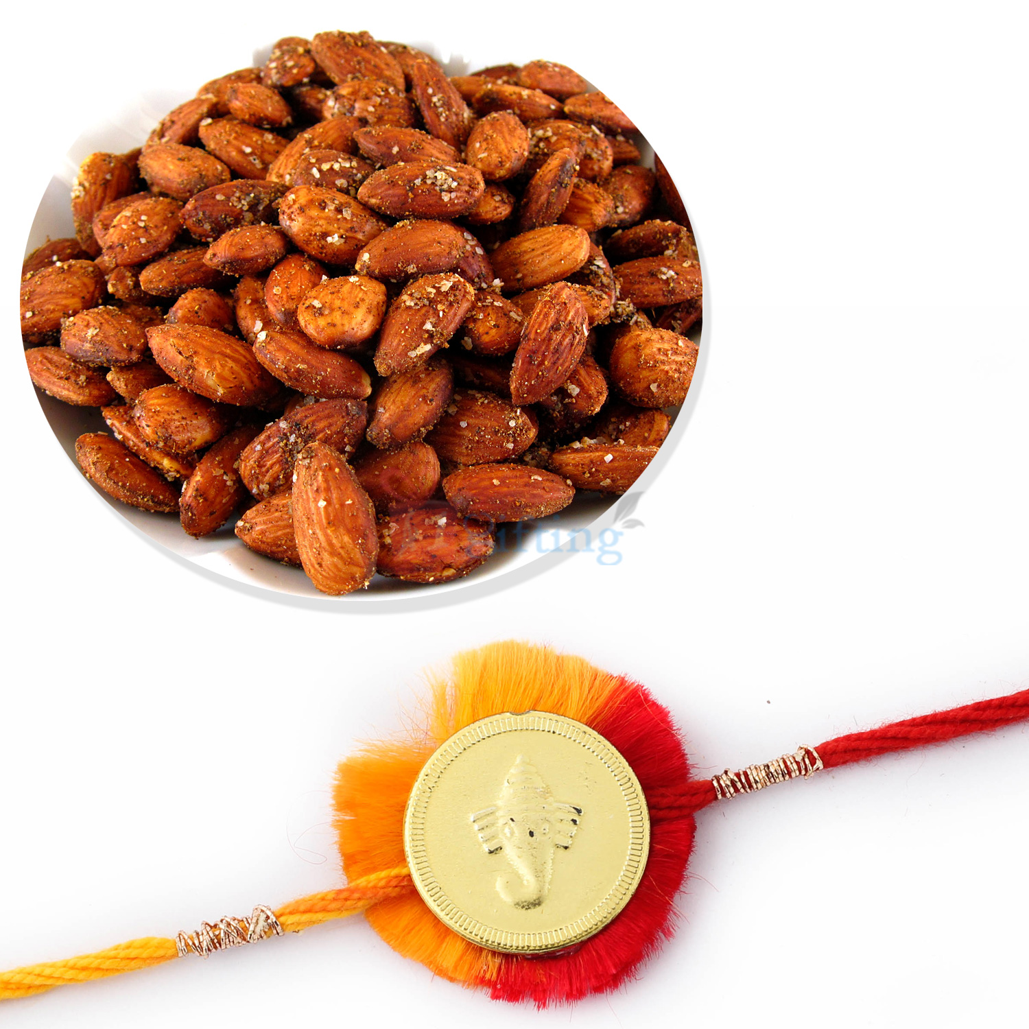 Rosted Badam with Golden Ganesh Coin Mauli Rakhi