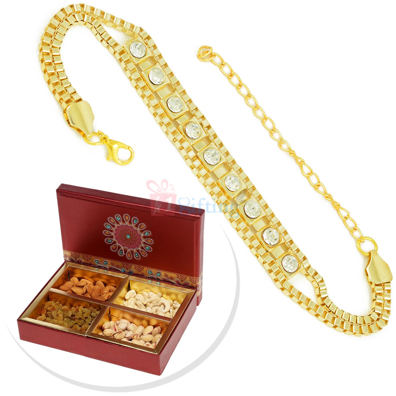 Golden Chain Rakhi Bracelet with 4 Types of Dryfruit Box