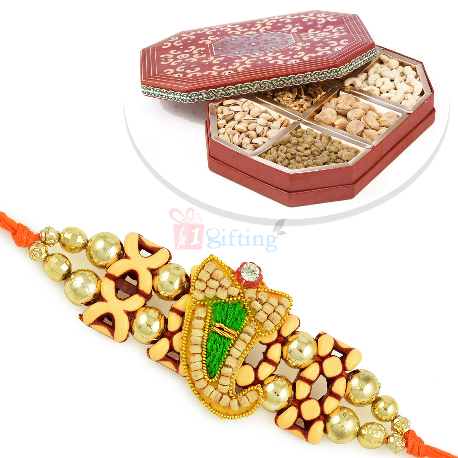 Wooden Designer Special Rakhi with 6 Types of Dryfruits