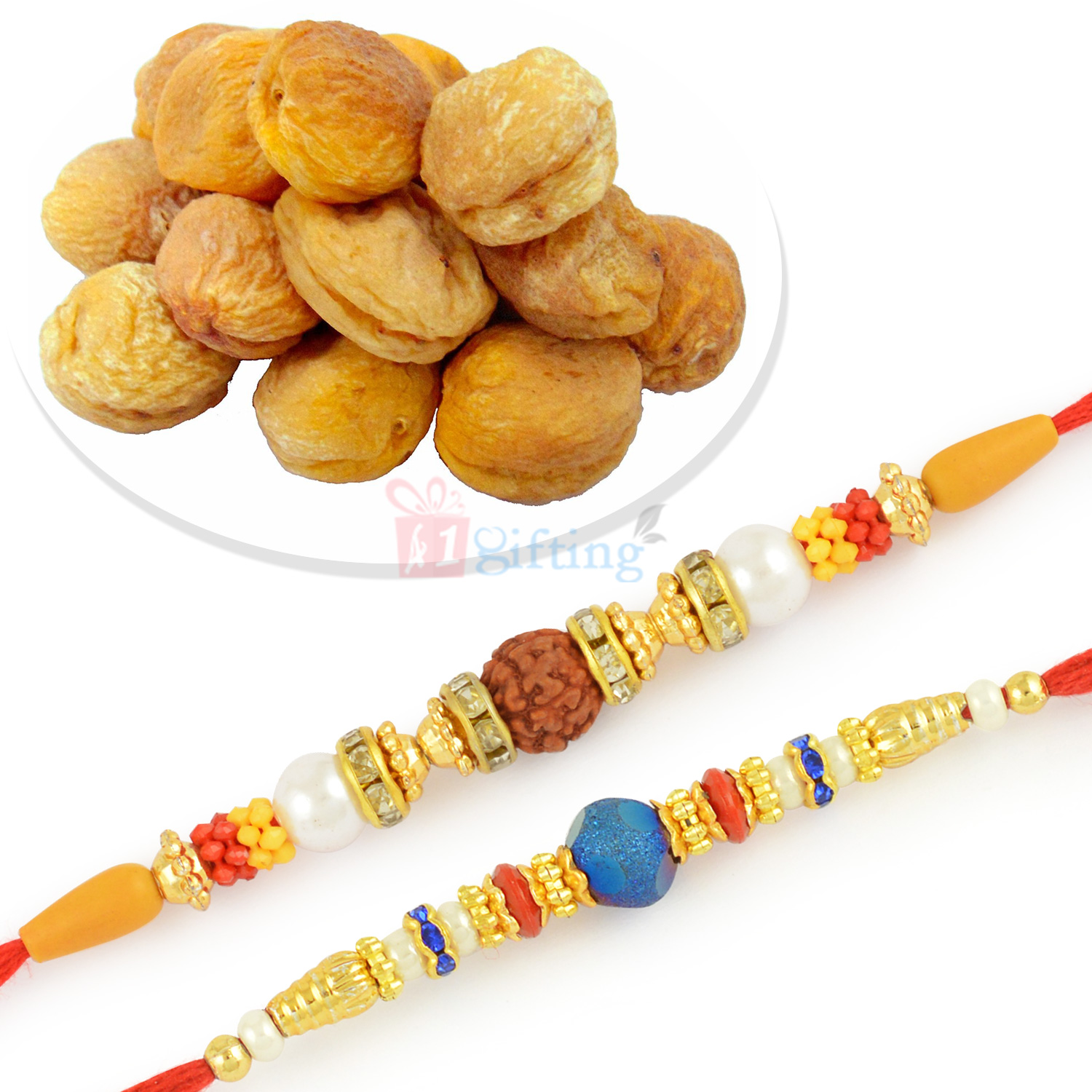 Rudraksha and Beads 2 Rakhi Set with Apricots Dryfruits
