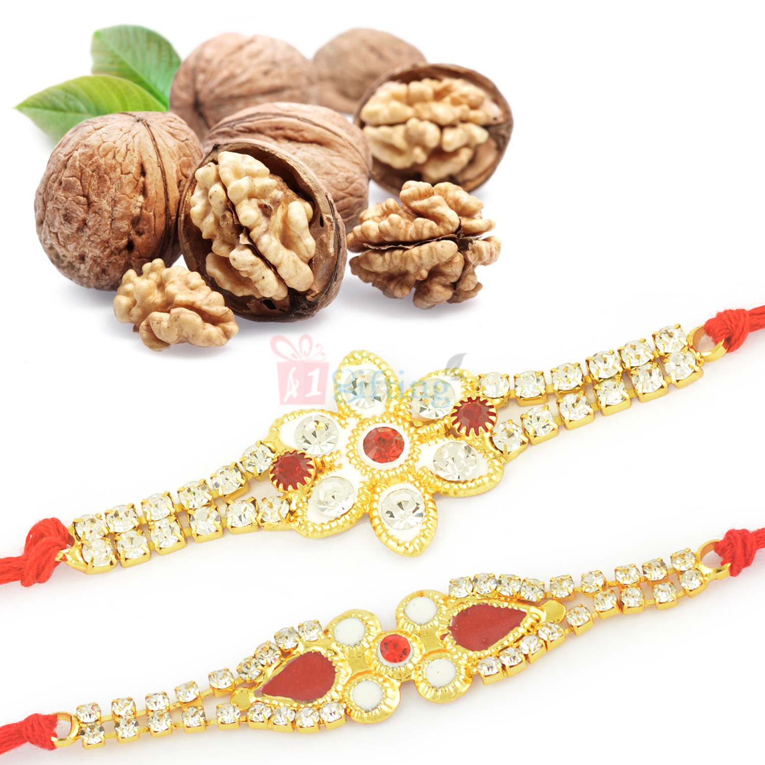Walnuts Dryfruits with Beautiful 2 Rakhi Set Hamper