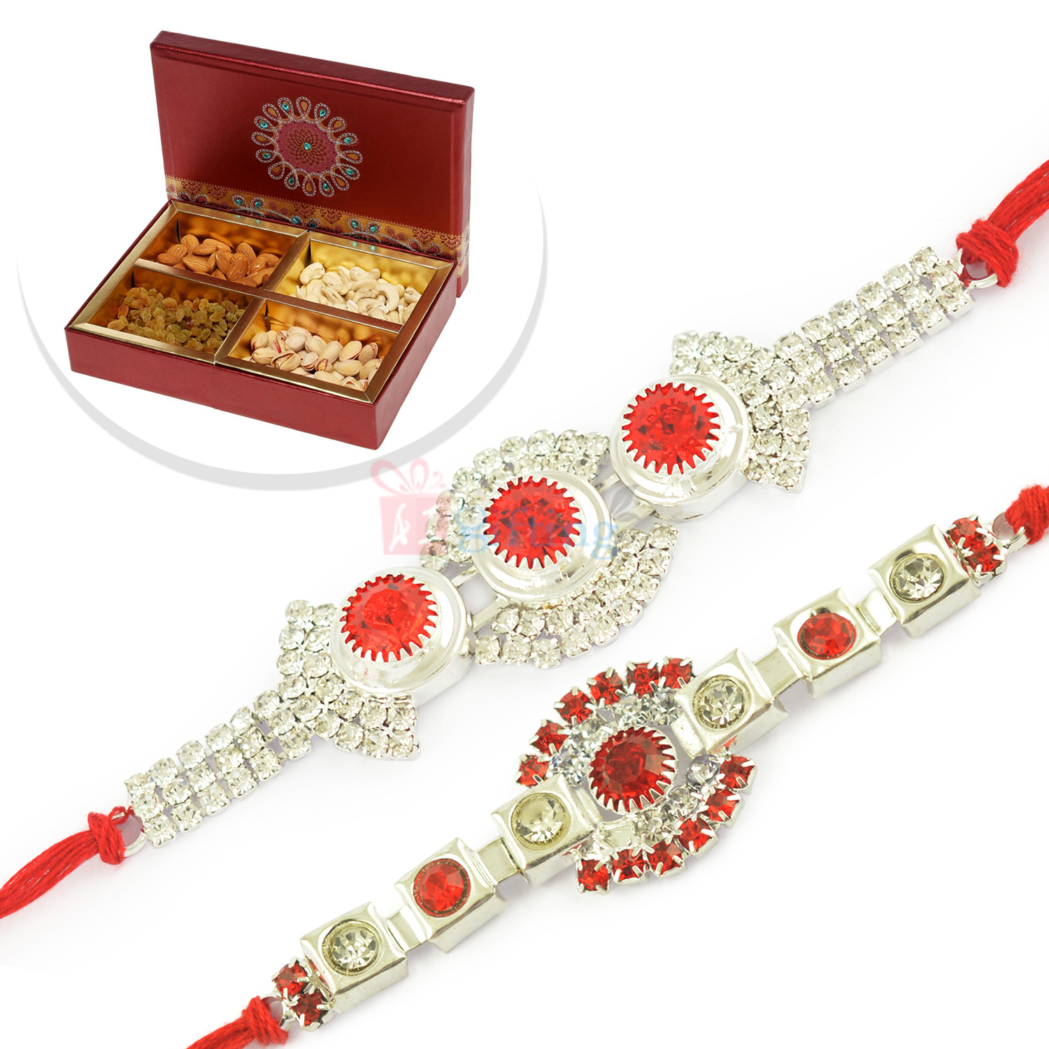 Two Silver Jewel Brother Rakhi with 4 type Dryfruits