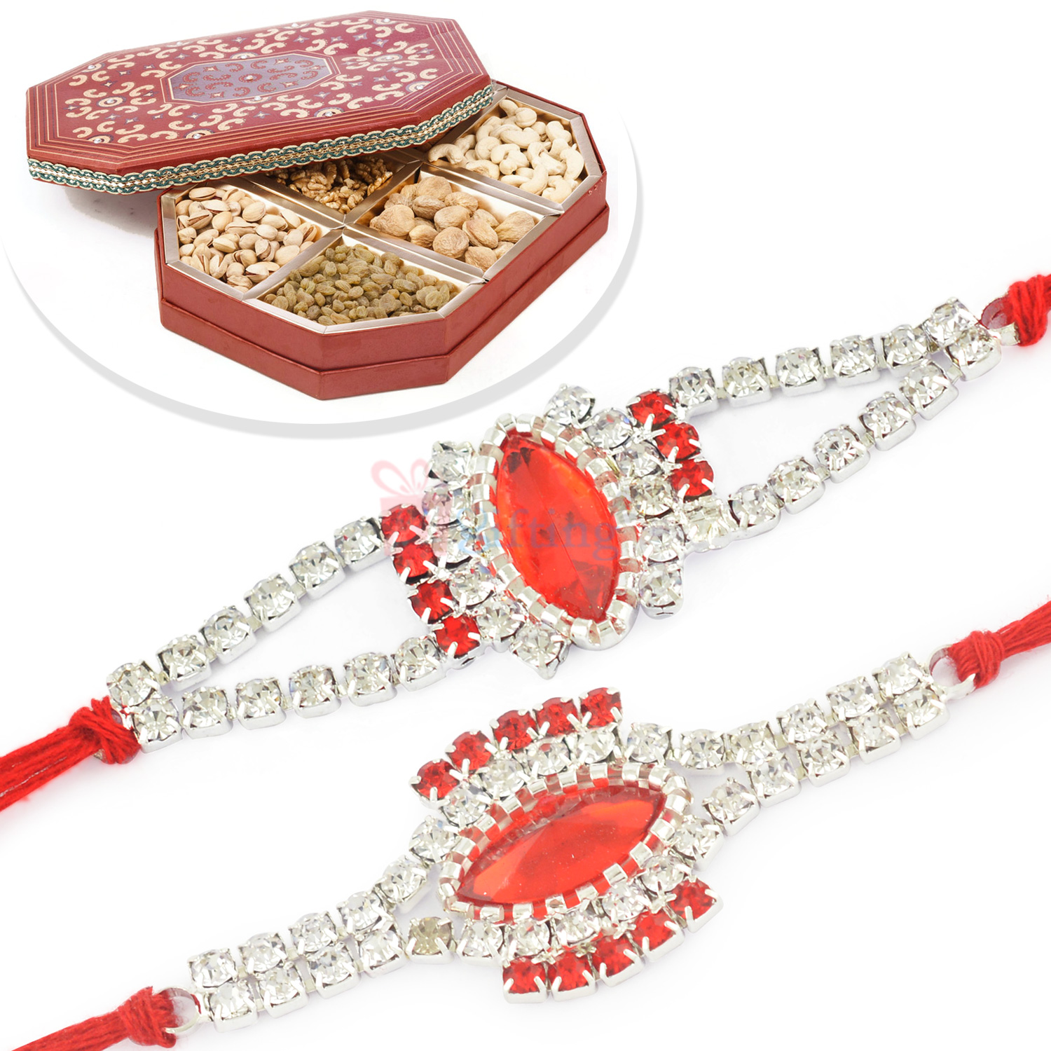Awesome 2 Silver Jewel Rakhi Set with 6 type Dryfruits Box