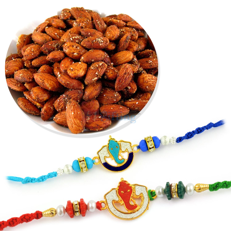 Roasted Almonds with Two Ganesha Meena Rakhi Set