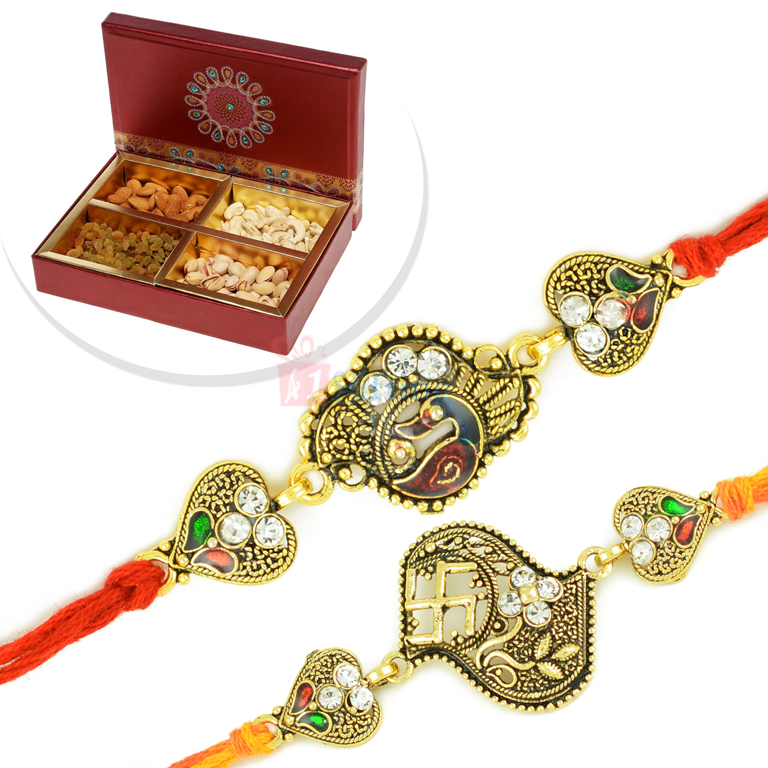 Antique Look Swastick Peacock 2 Rakhi Set with 4 type Dryfruits Box
