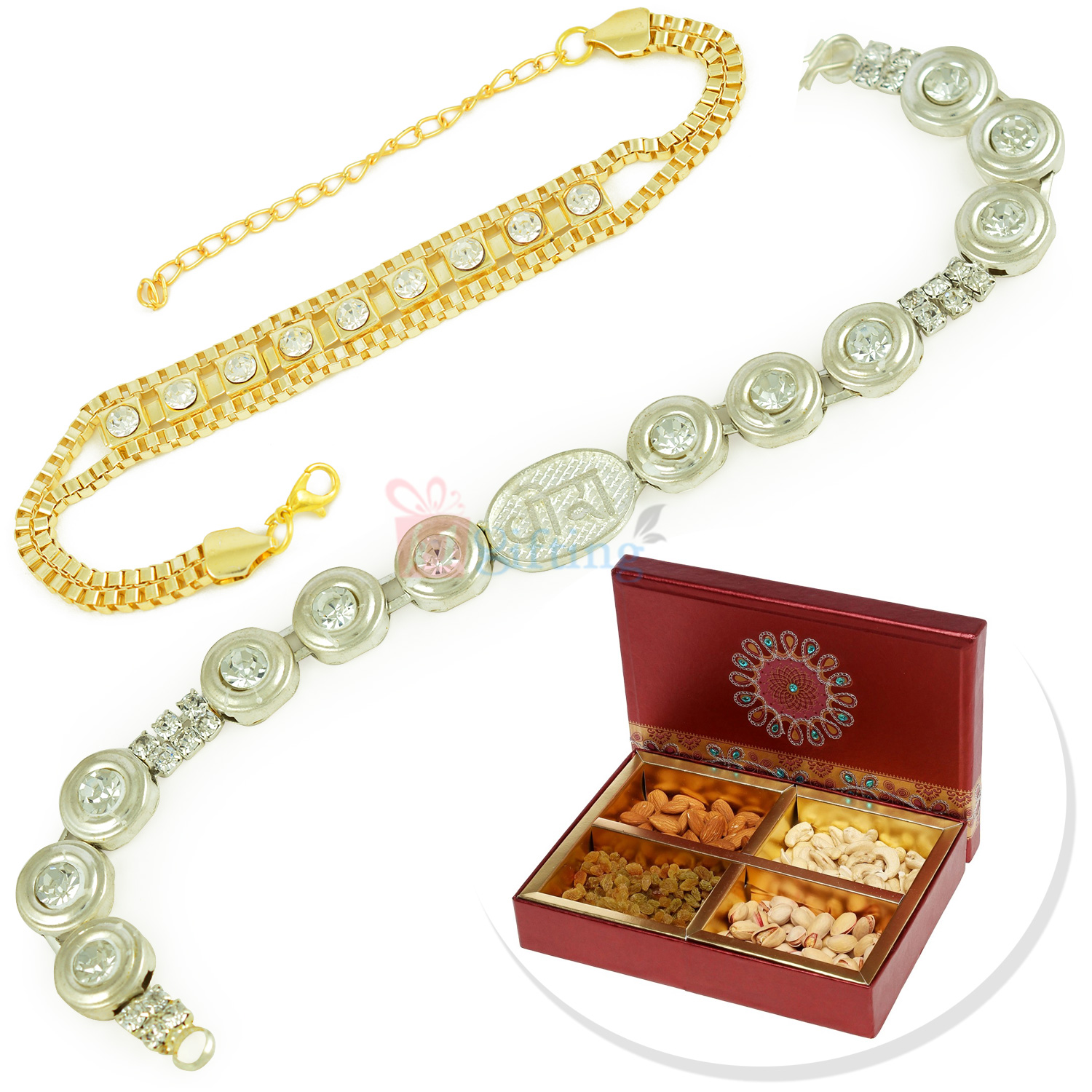 Silver and Golden Touch 2 Bracelet with 4 type Dryfruits Hamper