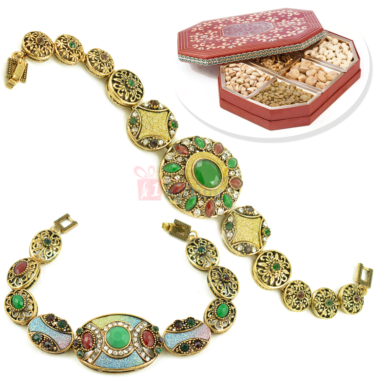 Two Antique Look Bracelet with 6 type Dryfruits Box