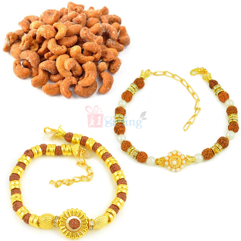Two Rudraksha Bracelet with Roasted Cashew Hamper