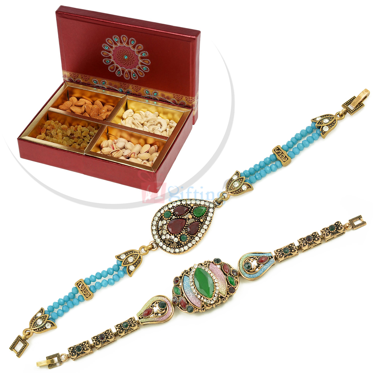 Antique Looking 2 Bracelet with 4 type Dryfruits Hamper