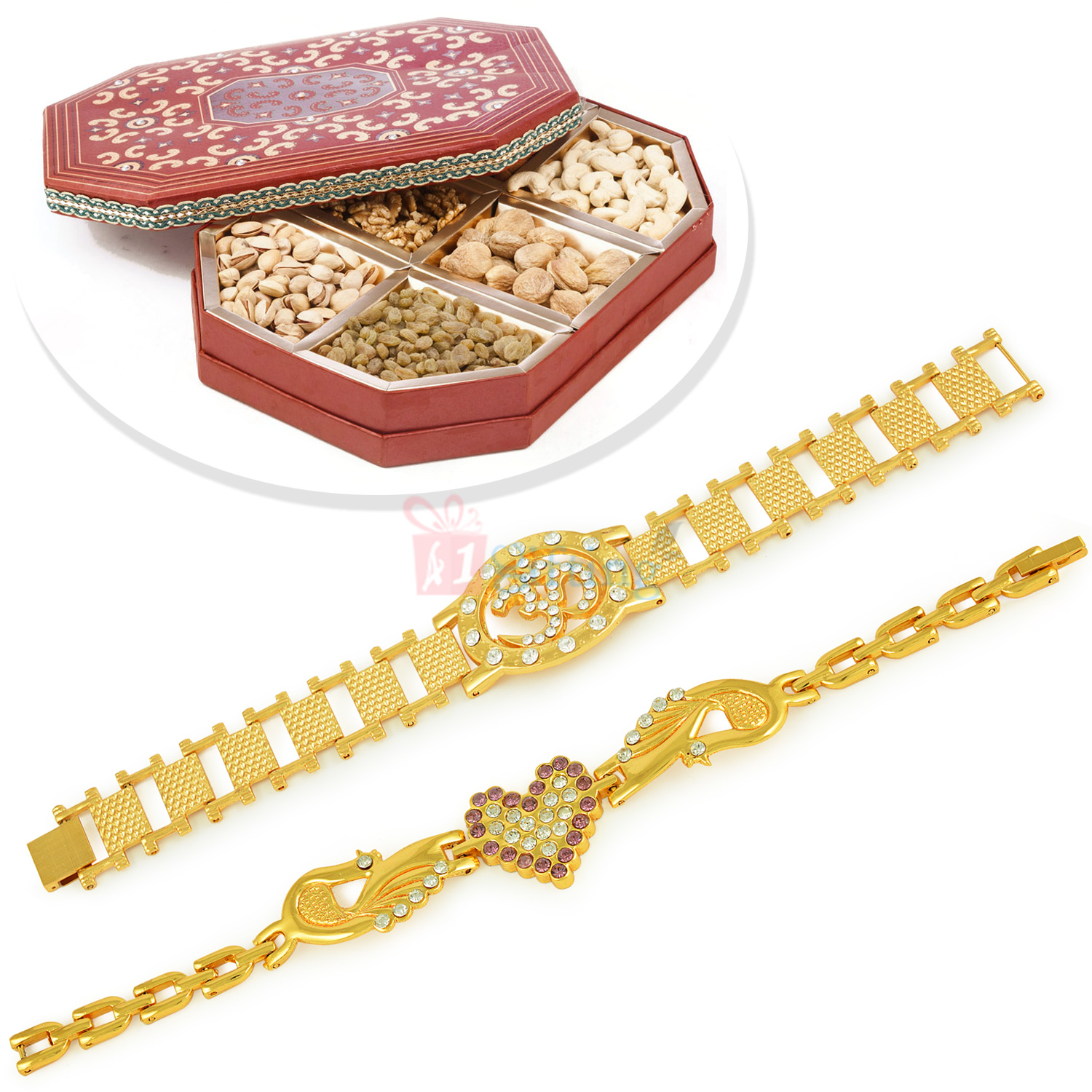 Beautiful Om and Heart Bracelet with 6 type Dryfruits