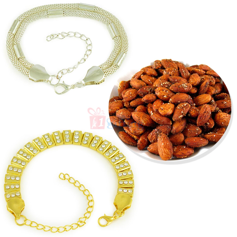 Awesome 2 Bracelet Set with Roasted Badam Dryfruit Hamper