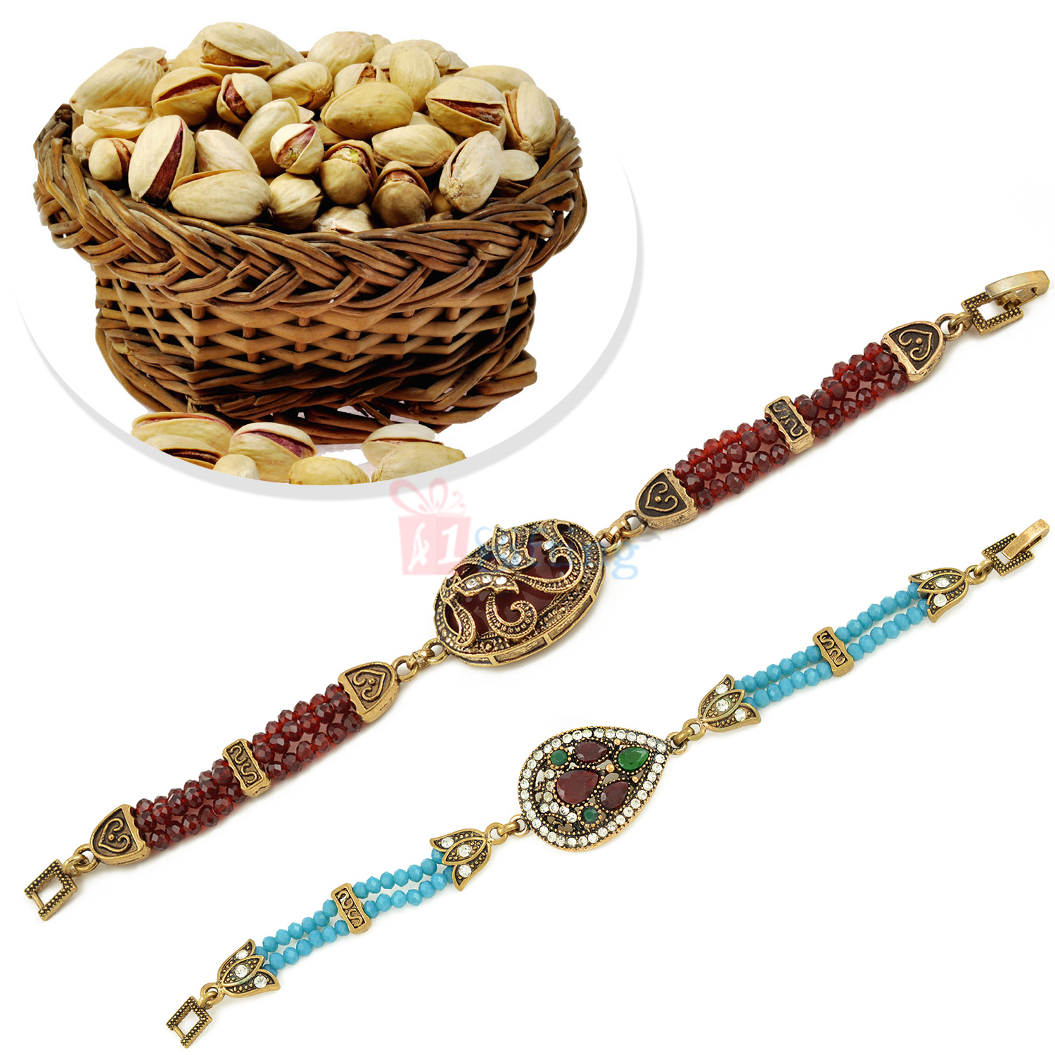 Awesome Antique 2 Bracelet with Pista Dryfruits Hamper