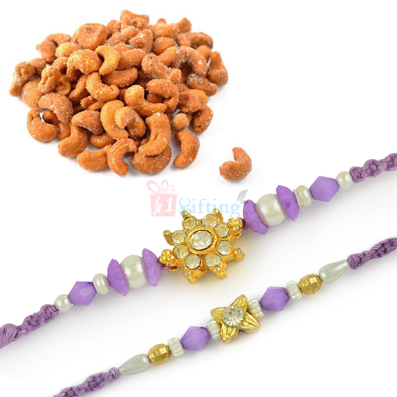 Beautiful Jewel Flower 2 Rakhi Set with Roasted Cashew