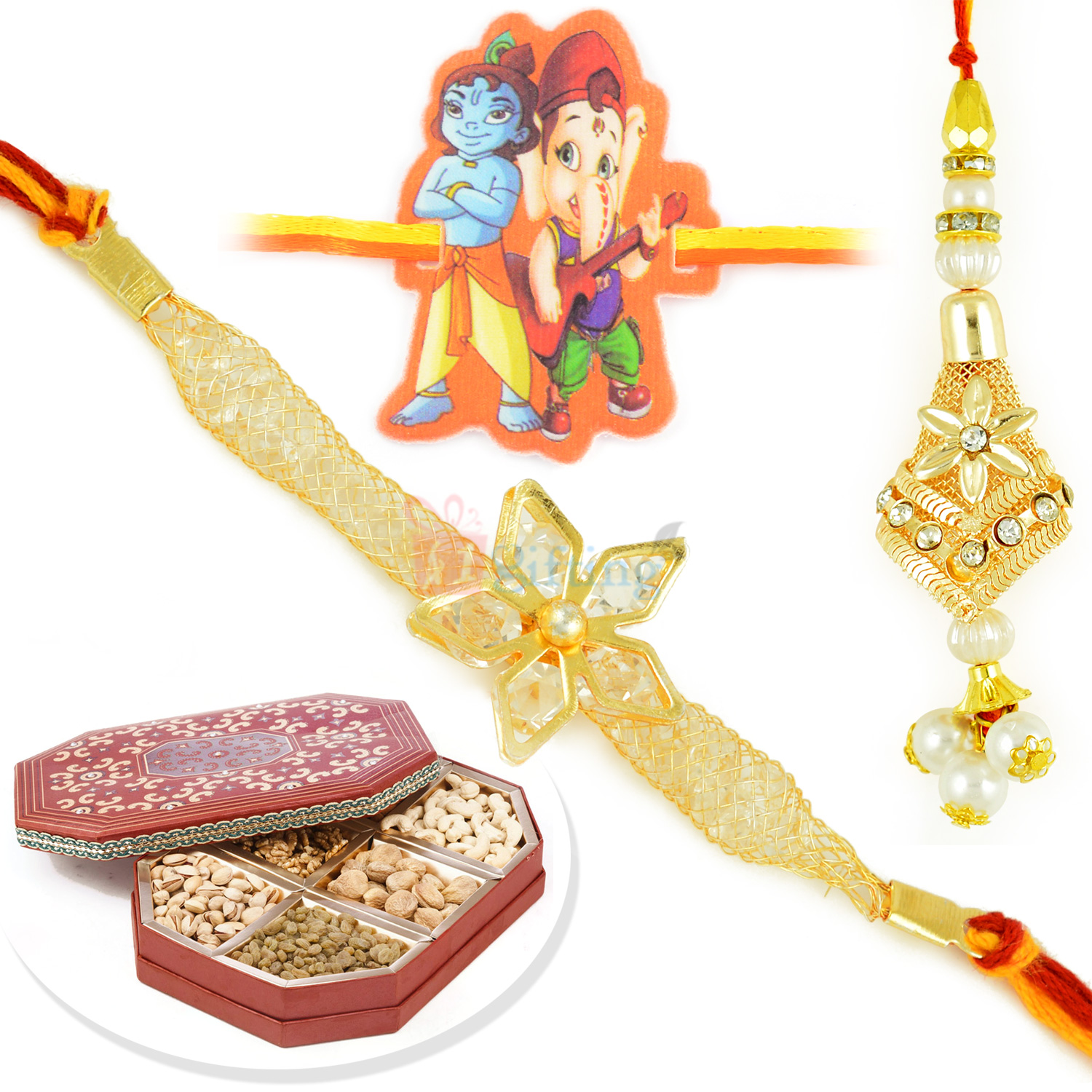 Floral Pair and Kids Rakhi with 6 type Dryfruits Combo Hamper
