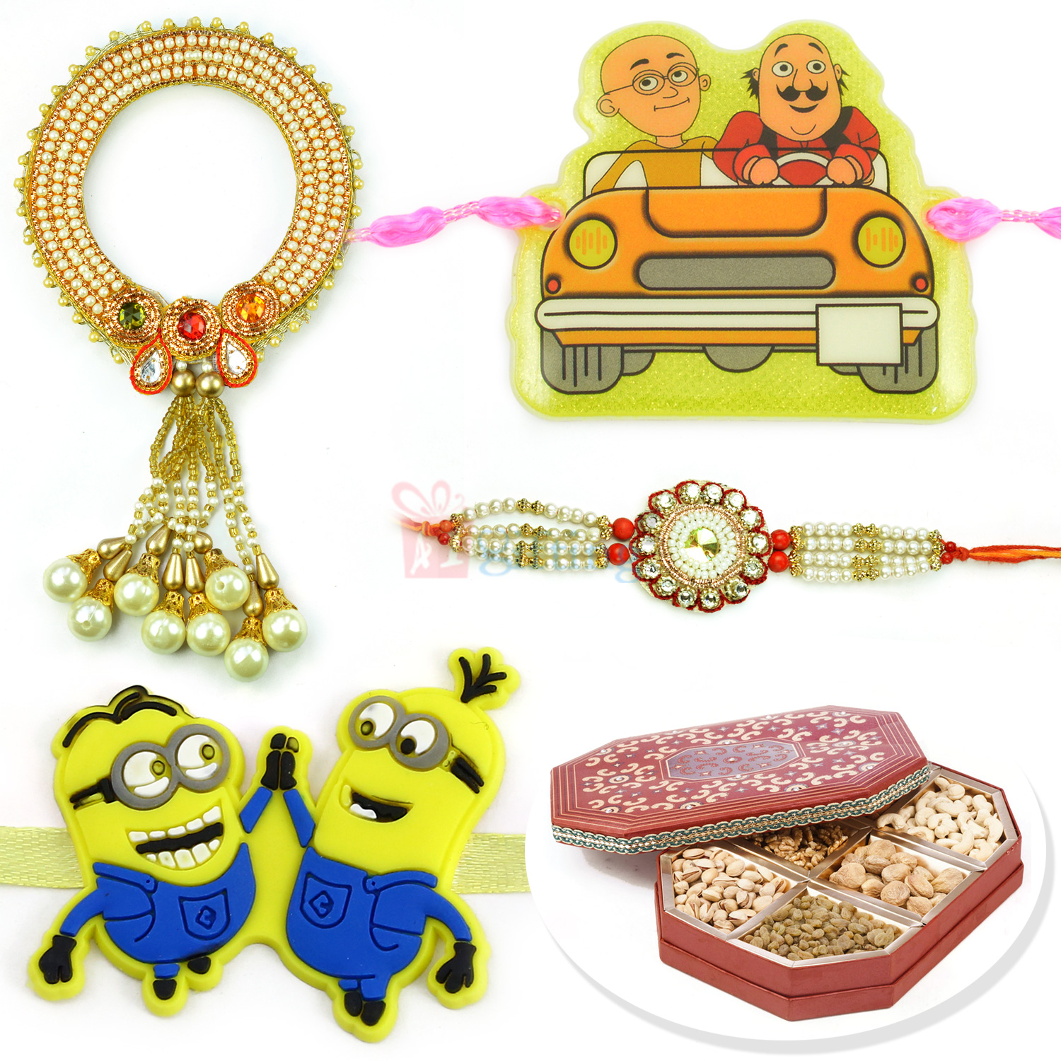 Minion Motu Patlu 2 Kids and Pearl Pair Rakhi with 6 type Dryfruits