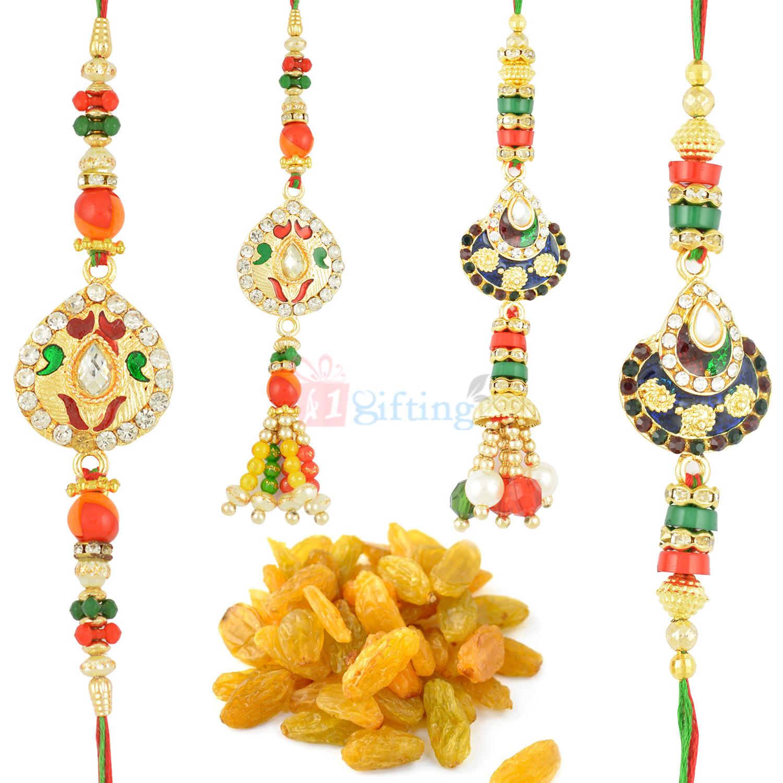Traditional 2 Pair Rakhi Set with Kishmish Hamper