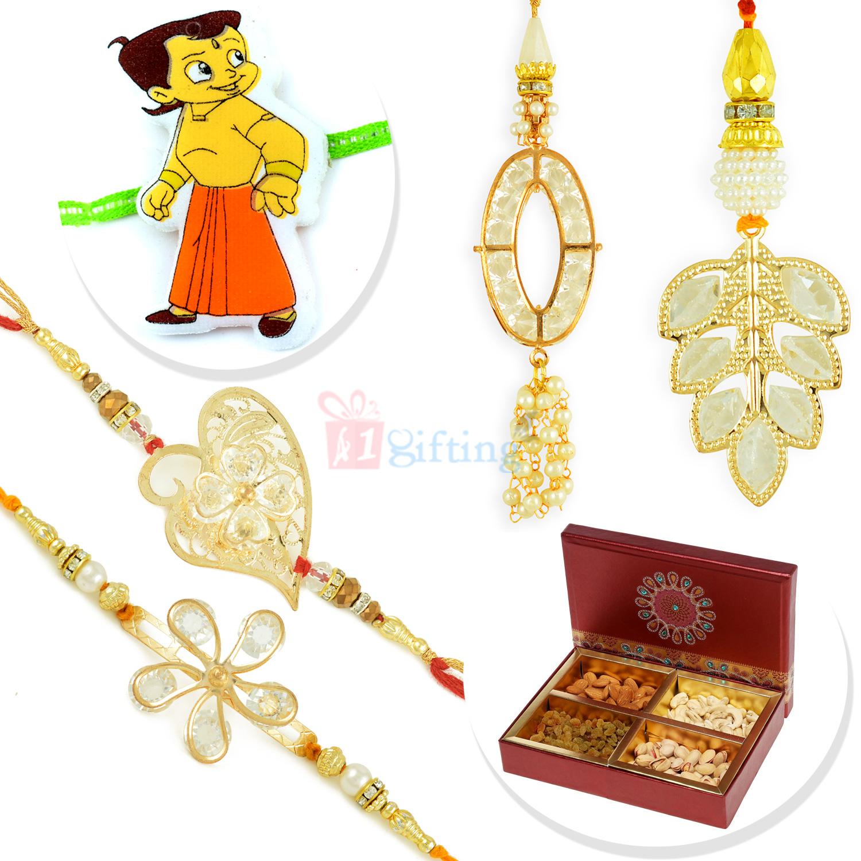 Leaf Golden Touch 2 Pair Rakhi Set with Kids Rakhi and 4 type Dryfruits