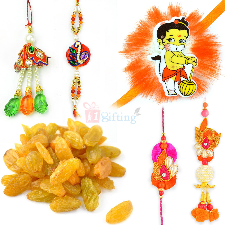 Kishmish with Two Pair Rakhi Set and Baal Hanuman Kids Rakhi