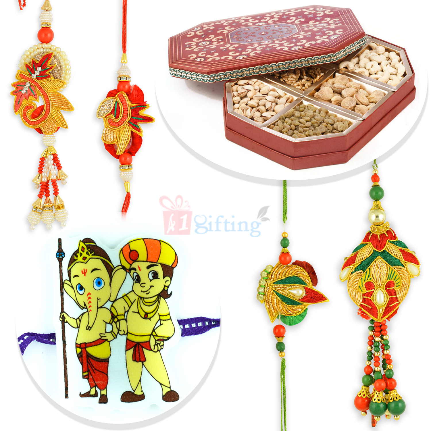 Zari Worked Two Pair Rakhi Set with Kids Rakhi and 6 Type Dryfruits