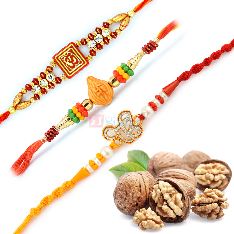 Fabulous Three Auspicious Rakhi Set with Walnuts Dry Fruits