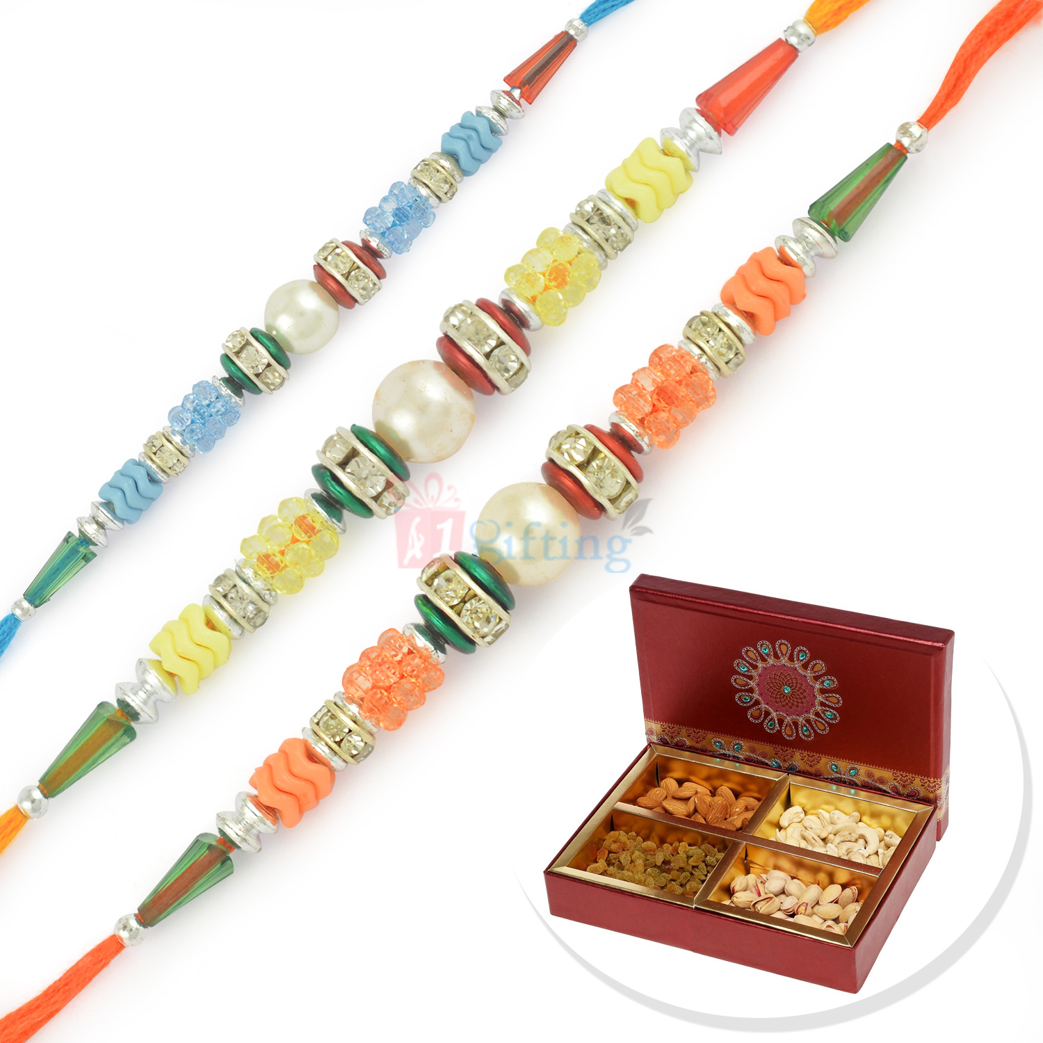 Three Beads and Pearl Combination Rakhi Set with 4 Type Dryfruits Box