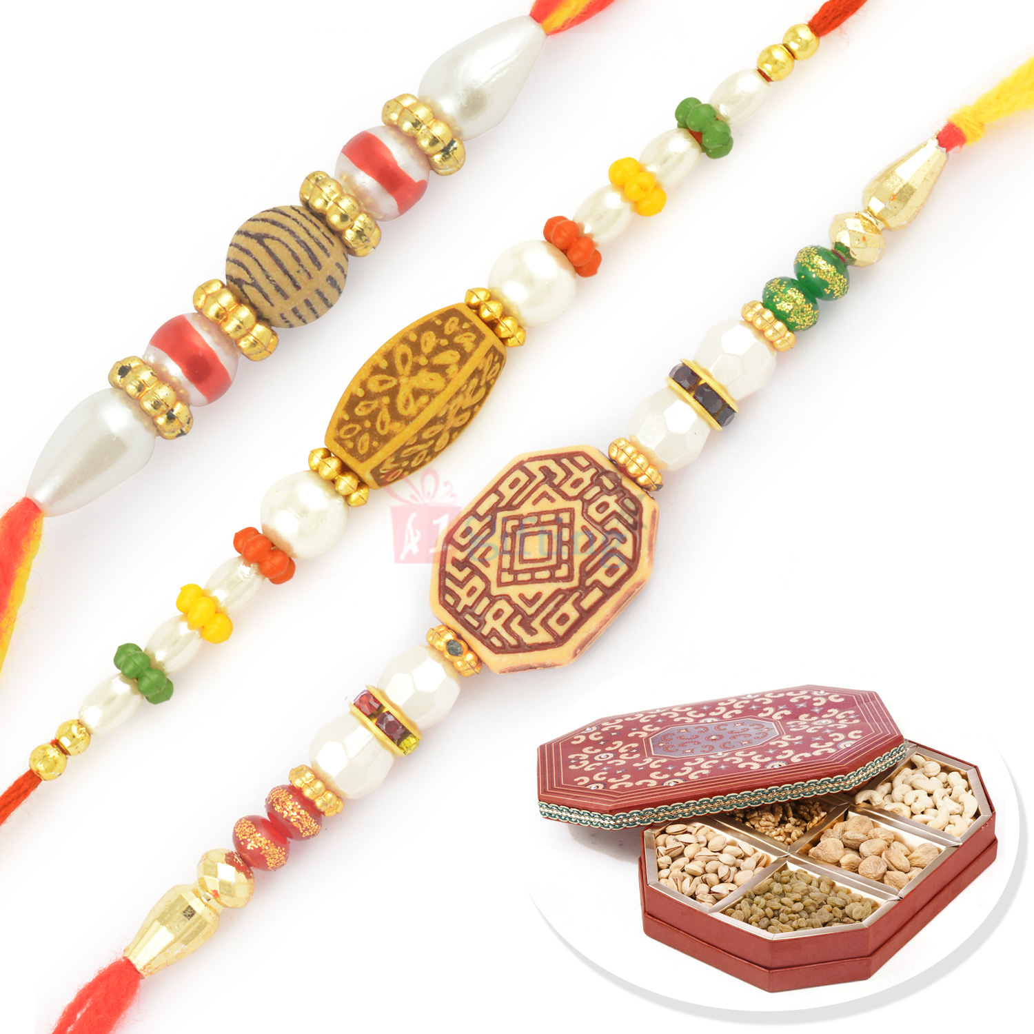 Designer Beads and Pearl Three Rakhi with 6 Kinds Dryfruits Box