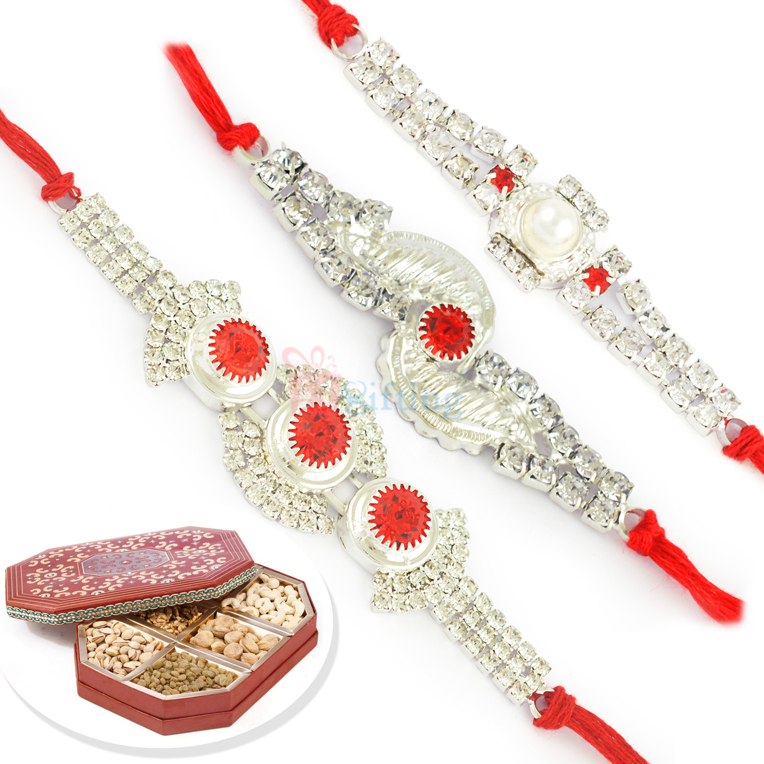 Silver Touch Jewel Rakhi with 6 Type Dryfruit Box