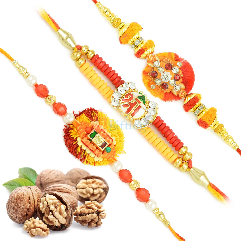 Three Floral Mauli Rakhi Set with Walnuts Dryfruit Hamper