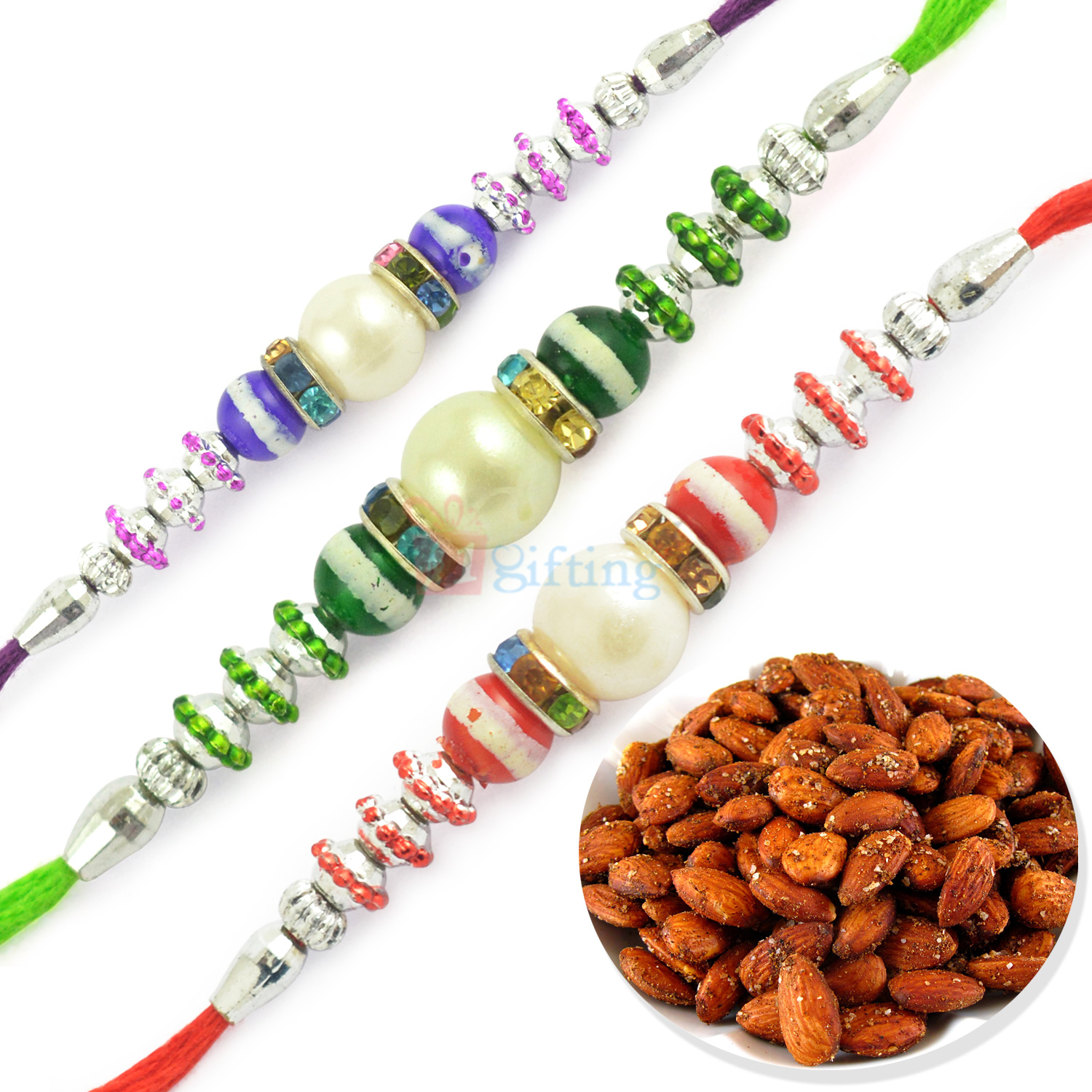 Roasted Almonds with Triple Pearl Beautiful Rakhi Hamper