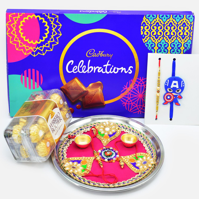Ferrero Rocher and Cadbury Dairy Milk Celebration Chocolate with Rakhis and Puja Thali