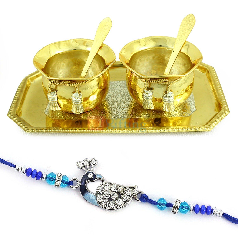 Golden Plated Guest Serving Pot Set with Mayur Designer Rakhi