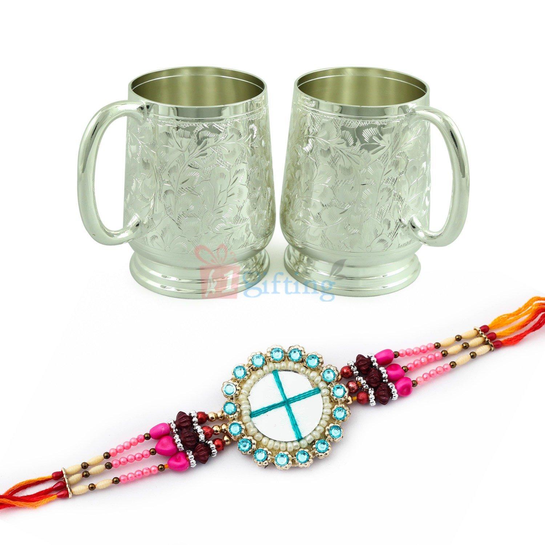Jaipur Special Designer Glass with Brass Coffee Mug Hamper