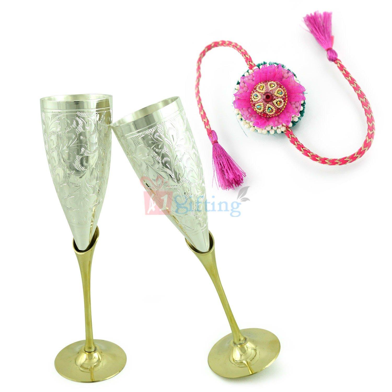 2 Goblet Wine Glass Set Hamper with Exclusive Jaipur Designer Rakhi