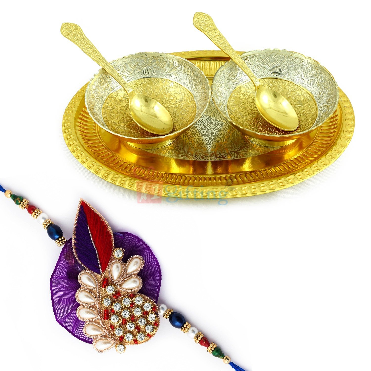 Bowl Pair with Oval Shaped Tray Gift Hamper with Exclusive Designer Rakhi