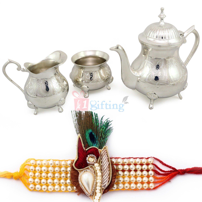 Royal Lemon Juice or Tea Serving Set 3 Piece with beautifully crafted pearl Rakhi