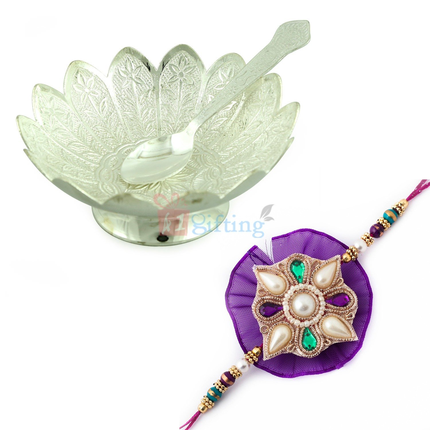 Flower Designer Silver Bowl with Spoon and Special Jaipuri Designer Rakhi Hamper