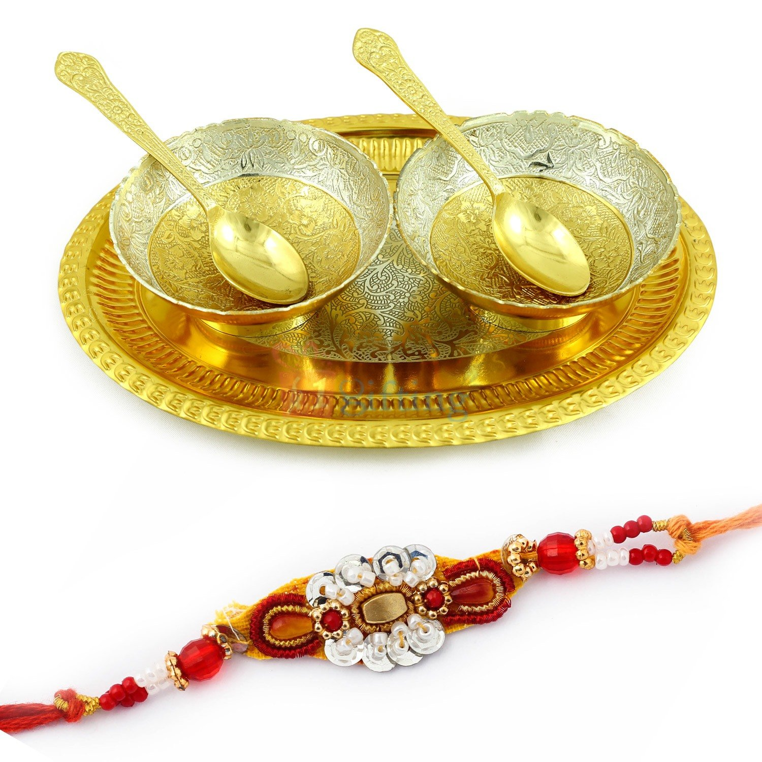 Oval Tray Bowl and Spoons of Brass Gift Hamper with Fancy Looking Rakhi