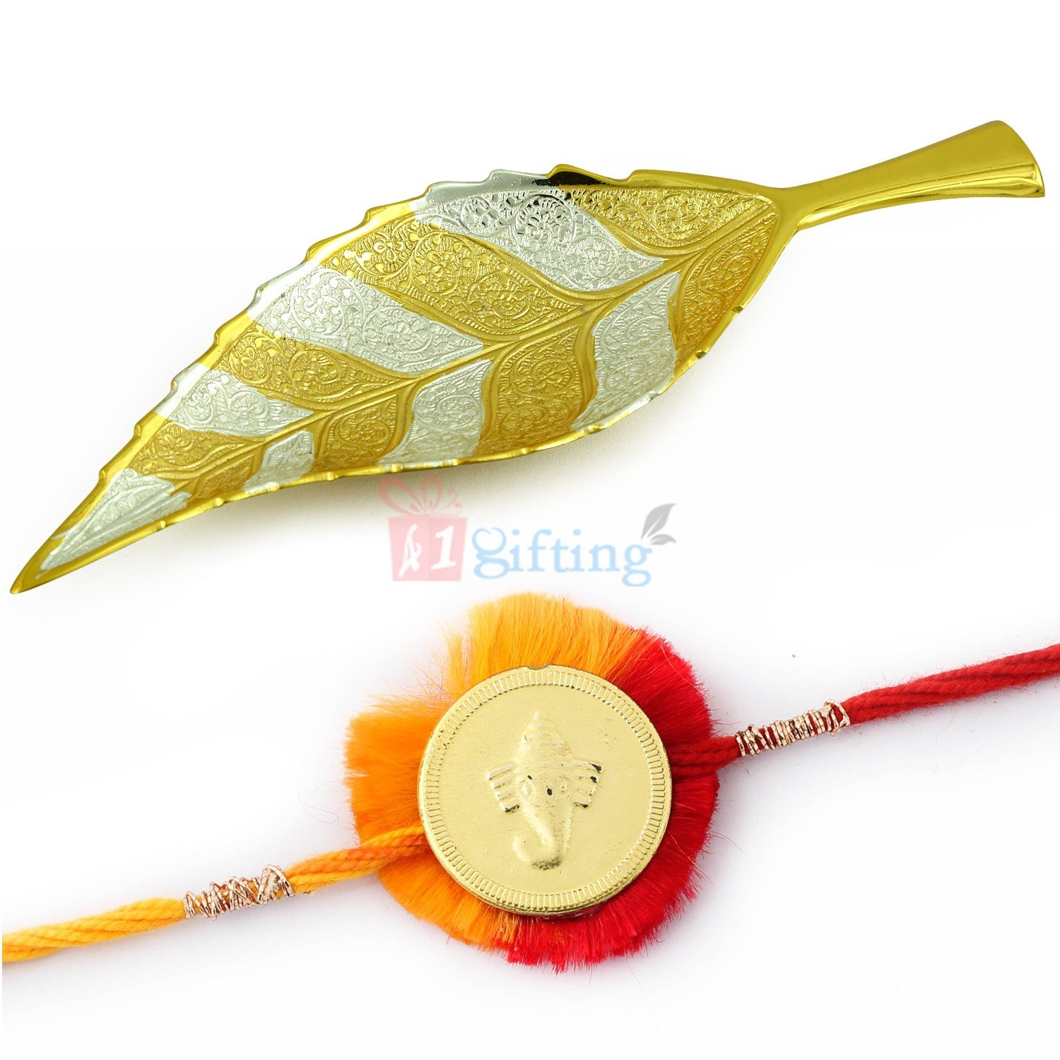 Leafy Designer Shahi Brass Serving Utensil with Golden Ganesha Coin Mauli Rakhi