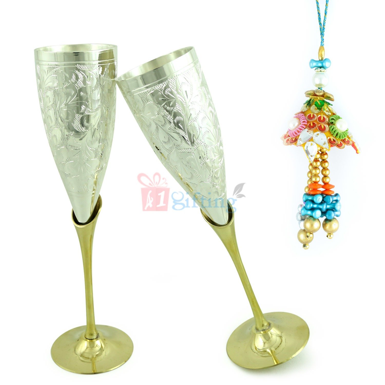 Goblet Brass Wine Glass n Lumba Bhabhi Rakhi Hamper
