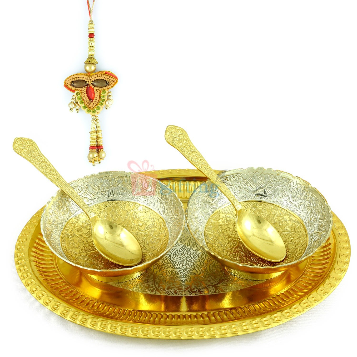 Bhabhi Rakhi Gift Hamper with Sandalwood Lumba and Brass Serving Tray Set