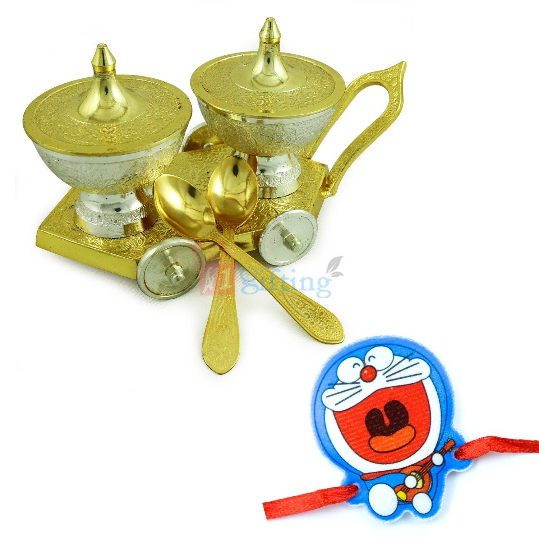 Royal Supari Daan Brass Gift Hamper with Doraemon Kids Rakhi