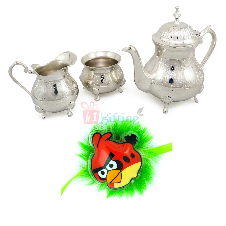 Angry Birds Kids Rakhi with Royal Lemon Juice or Tea Serving Set Hamper