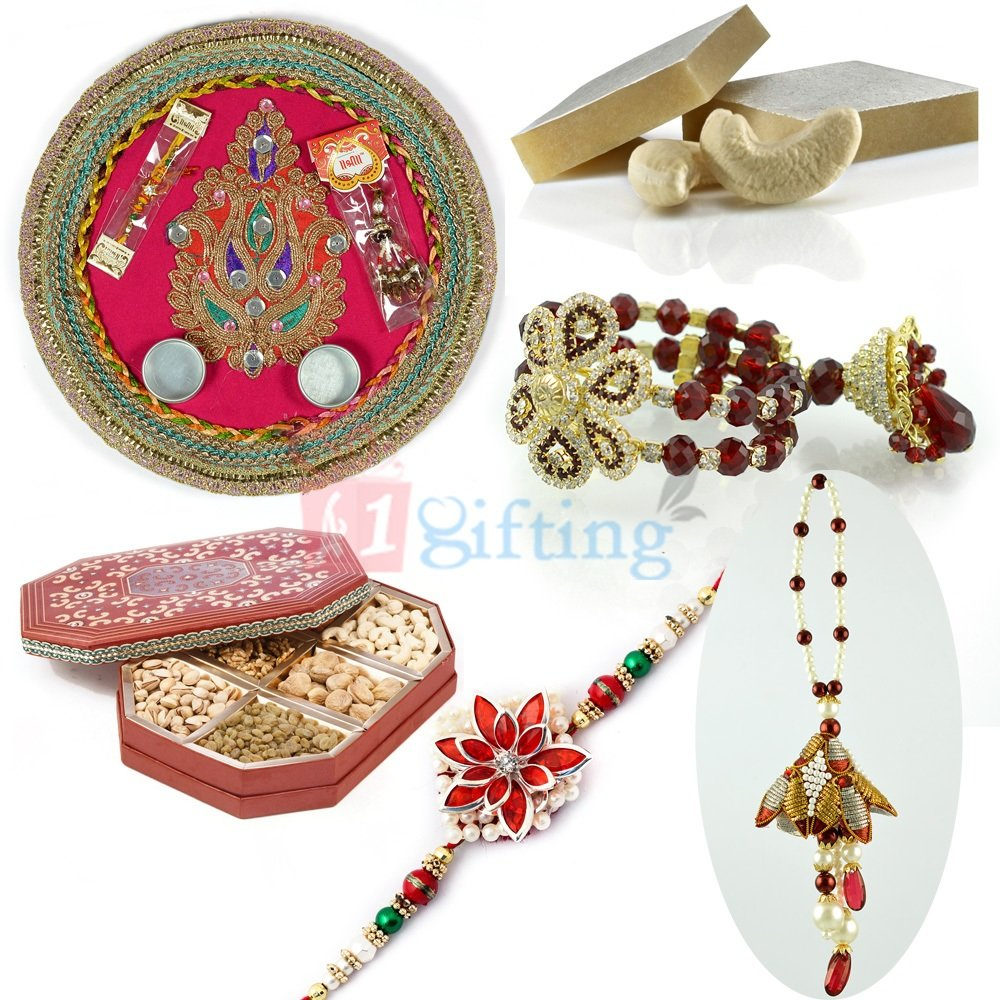 Great Rakhi Combo with Thali Sweets Big Dry Fruit Box and Rakhis