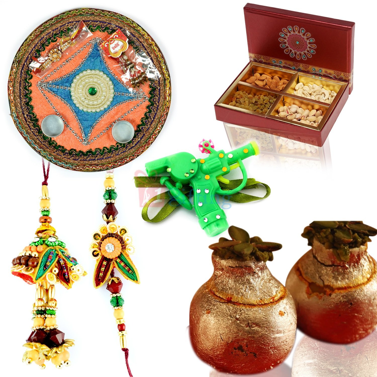 Sweet Dry fruit Combo with Thali and Rakhis for Gift on Rakhi