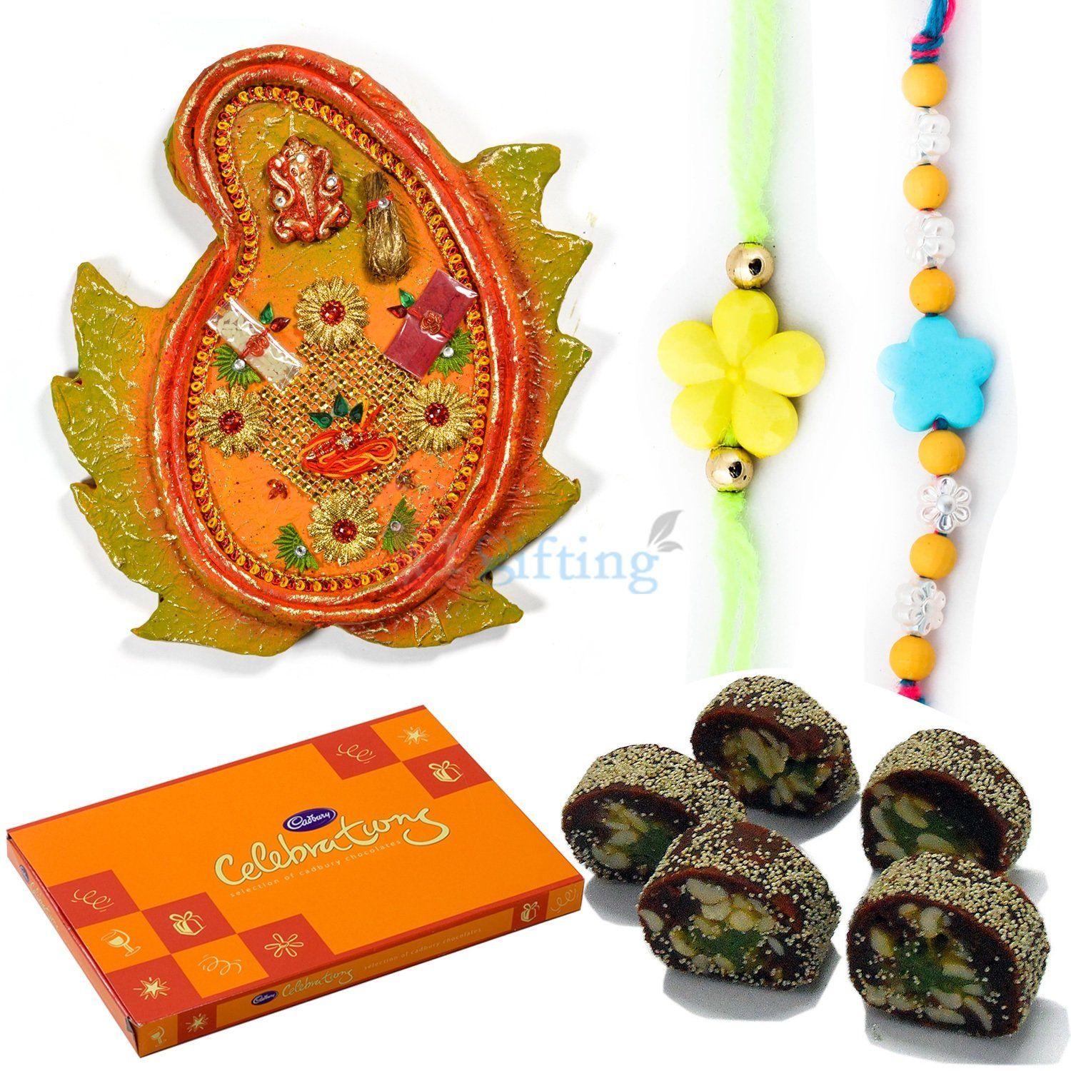 Best Gift for Brothers with Chocolate Pooja Thali Sweets and Rakhis